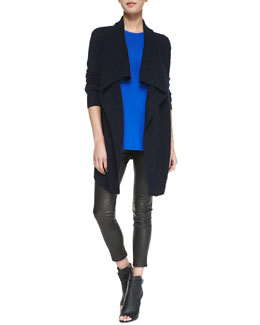 Vince Open-Front Brick-Textured Cardigan, Silk Contrast Muscle Tee & Cropped Leather Leggings