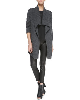 Vince Open-Front Brick-Textured Cardigan, Cap-Sleeve Silk-Yoke Shirttail Tee & Cropped Leather Leggings