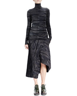 Stella McCartney Long-Sleeve Space-Dyed Turtleneck Top & Skirt with Uneven Hem
