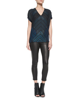 Vince Short-Sleeve Chevron-Print Shell & Cropped Leather Leggings