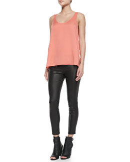 Vince Scoop-Neck Silk Tank & Cropped Leather Leggings