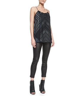 Vince Spaghetti Strap Chevron-Print Camisole & Cropped Leather Leggings