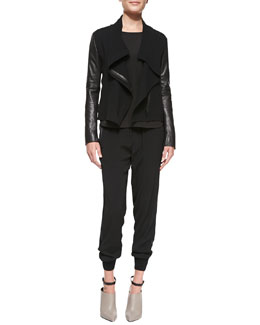 Vince Leather-Sleeve Asymmetric Wool Jacket, Cap-Sleeve Shirttail Tee & Rib-Cuff Jogger Pants