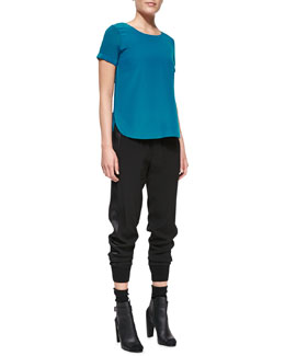 Vince Silk-Yoke Cap-Sleeve Shirttail Tee & Rib-Cuff Jogger Pants