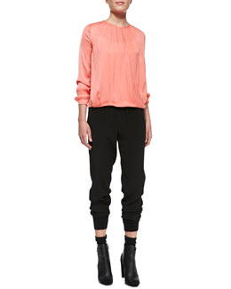 Vince Cross-Front Draped Top & Rib-Cuff Jogger Pants