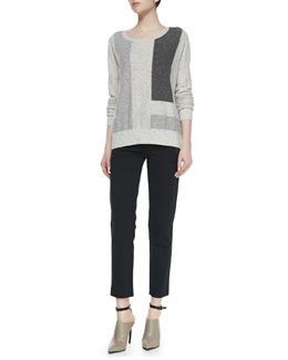 Vince Colorblock Intarsia Cashmere Knit Sweater & Leather-Pocket Ponte Trousers
