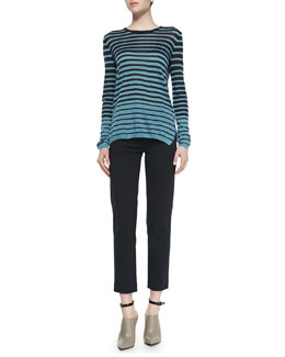 Vince Striped Long-Sleeve Knit Sweater & Leather-Pocket Ponte Trousers