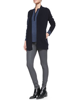 Vince Mixed-Gauge Open Knit Cardigan, Contrast-Placket Slub Henley & Zipper-Cuff Coated Skinny Pants