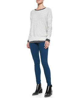 Vince Boat-Neck Cashmere Sweater, Lightweight Long-Sleeve Crewneck Top & Lightweight Denim Stretch Leggings