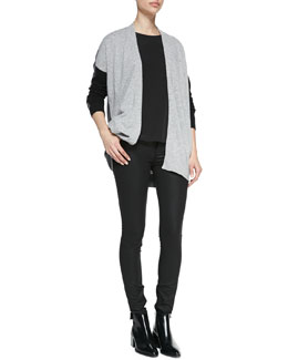 Vince Cashmere Colorblock Drape Cardigan, Cap-Sleeve Silk-Yoke Shirttail Tee & Zipper-Cuff Coated Skinny Pants