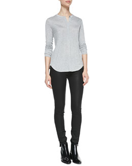 Vince Silk-Contrast Long-Sleeve Henley Top & Zipper-Cuff Coated Skinny Pants