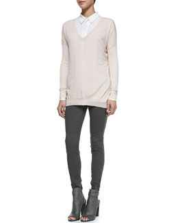 Vince Lightweight V-Neck Drop-Sleeve Sweater, Classic Long-Sleeve Silk Blouse & Stretch-Knit Moto Leggings