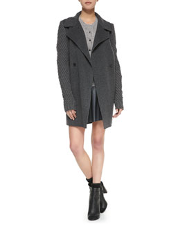 Vince Sweater-Sleeve Felt Coat, Ribbed-Knit Button-Front Cardigan & A-Line Leather Miniskirt