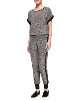 Vince Cuff-Sleeve Printed Silk Top & Jogging Pants