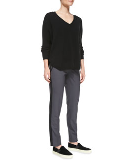 Vince Split-Hem V-Neck Cashmere Sweater & Nautical Strapping Pants