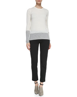 Vince Crewneck Colorblock Sweater & Leather Trim Ponte Trousers