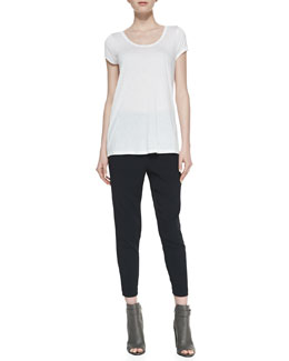Vince Short-Sleeve Satin-Neck Top & Satin-Piped Wrapped Seam Pants