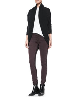Vince Elliptical Circle Cardigan, Basic Tee & Side-Stripe Skinny Jeans