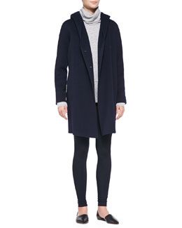 Vince Hooded Button-Down Coat, Mixed-Weight Cashmere Turtleneck & Knit Scrunch-Ankle Leggings