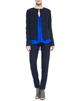 Vince Trapunto-Placket Georgette Blouse, Snap-Front Four-Pocket Jacket & Side Strapping Pants