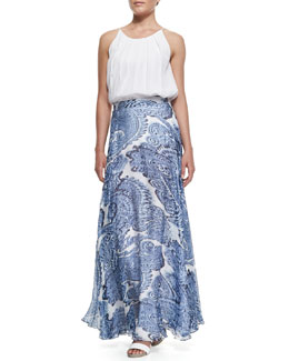 Milly Pleated Cut-In Flowy Tank & Watercolor Paisley-Print Maxi Skirt
