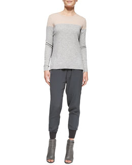 Vince Long-Sleeve Colorblock Sweater & Ribbed-Cuff Jogger Pants