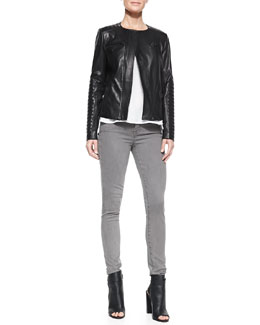 Vince Quilted-Patch Leather Moto Jacket, Short-Sleeve Shirttail Tee & Side-Stripe Skinny Jeans