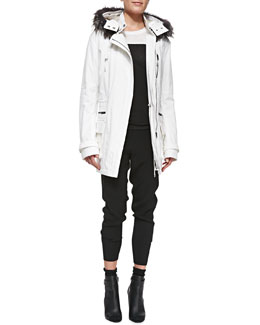 Vince Fur-Trim Quilted Parka, Two-Tone Short-Sleeve Tee & Rib-Cuff Jogger Pants
