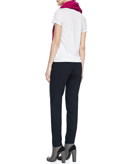 Vince Basic Tee Fringed Silk Scarf Amp Side Strapping Pants