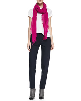 Vince Basic Tee, Fringed Silk Scarf & Side Strapping Pants