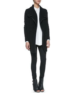 Vince Ribbed Layout Drape Cardigan with Leather Trim, Classic Long-Sleeve Silk Blouse & Moto Leggings