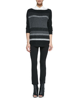 Vince Variegated Marble Pattern Boat-Neck Sweater, Sheer-Stripe Sleeveless Silk Blouse & Cropped Flared-Ankle Leggings