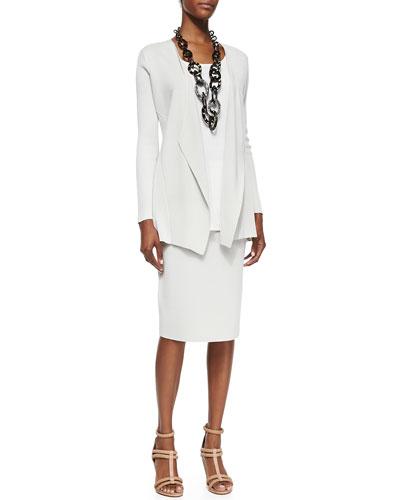 Eileen Fisher Silk-Cotton Interlock Jacket, Long Silk Jersey Tunic & Silk-Cotton Straight Skirt, Petite