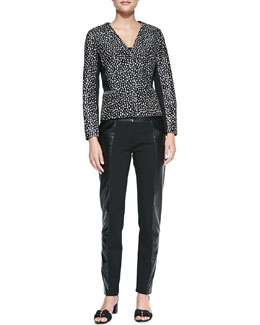 Tory Burch Imari Dotted Calf Hair Jacket & Mabley Ponte Faux-Leather Pants