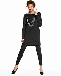 Eileen Fisher Merino Jersey Long Tunic & Viscose Jersey Leggings, Women's