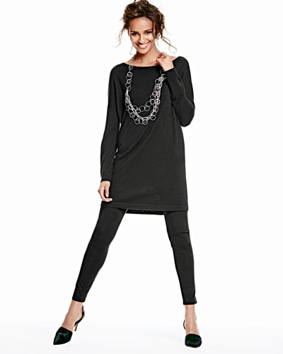 Eileen Fisher Merino Jersey Long Tunic & Viscose Jersey Leggings, Women's