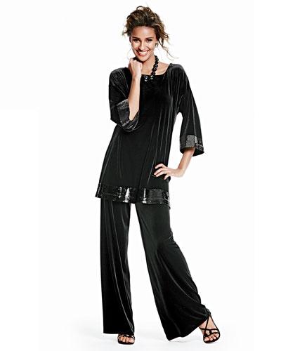 Joan Vass Velour Sequin-Trimmed Tunic & Velour Wide-Leg Pants, Petite
