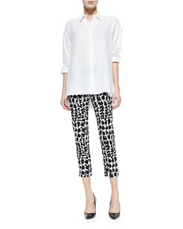 Neiman Marcus Cotton Button-Front Top & Stretch-Twill Printed Pants