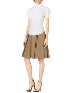 Michael Kors  Twist-Sleeve Stretch-Cotton Blouse & Pleated A-Line Dance Skirt