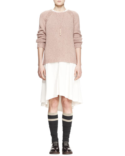 Brunello Cucinelli Sequined Stretch-Cashmere Raglan-Sleeve Sweater, Jewel-Neck Blouson High-Low Silk Dress, Striped Knee Socks & Metal Cylinder Whistle Necklace