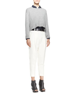 Brunello Cucinelli Long-Sleeve Sequined Short Sweater, Boyfriend Denim Shirt, Full Pleated Ankle Trousers, Punch-Hole Pebbled Leather Belt & Metal Cylinder Whistle Necklace