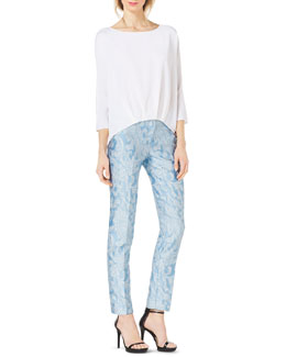 Michael Kors  Silk-Blend High-Low Blouse & Samantha Paisley-Print Slim Pants