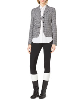 Michael Kors  Houndstooth Fitted Wool-Jacquard Blazer & Stretch-Twill Zipper Riding Pants