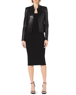 Michael Kors  Stand-Collar Leather Jacket, Scoop-Neck Cap-Sleeve Top & Formfitting Wool Tube Skirt