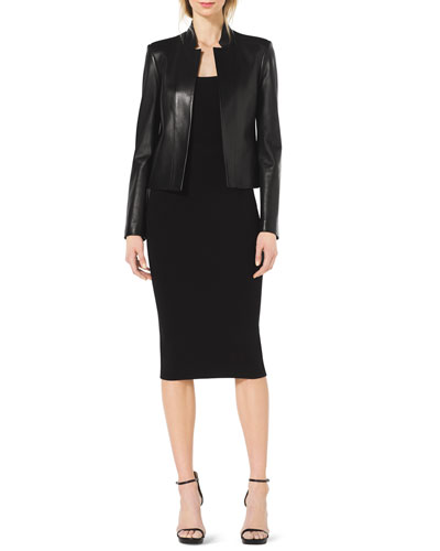 Michael Kors  Stand-Collar Leather Jacket, Scoop-Neck Cap-Sleeve Top & Formfitting Wool Tube Skirt