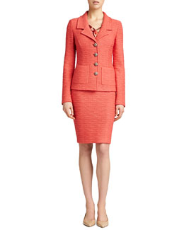 St. John Collection New Shantung Fitted Jacket, Pencil Skirt & Bouquet-Print V Neck Shell