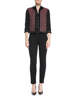 St. John Collection Milano Knit 3/4-Sleeve Jacket, Long-Sleeve V-Neck Tie Blouse & Stretch Milano Knit Slim Ankle Alexa Pants
