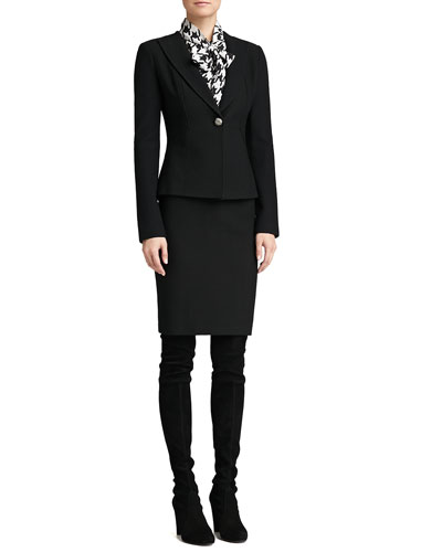 St. John Collection Boucle Knit Collar Jacket, Pencil Skirt & Marco Houndstooth Blouse