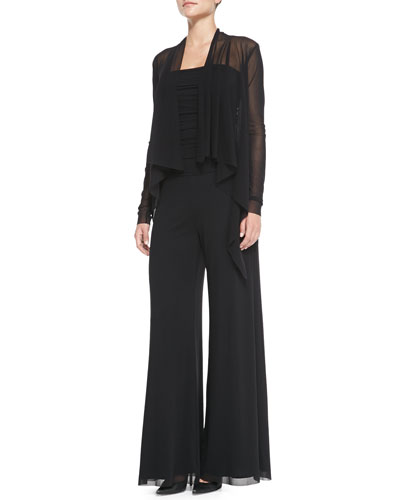 Fuzzi Long-Sleeve Drape-Front Cardigan & Strapless Ruched Jumpsuit