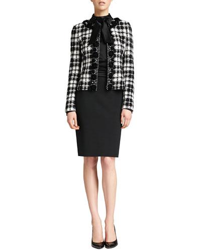 St. John Collection Plaid Knit Tailored Jacket & Liquid Satin Tie-Neck Blouson Dress